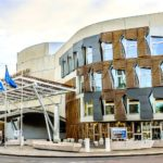 Scottish Parliament flying saltire